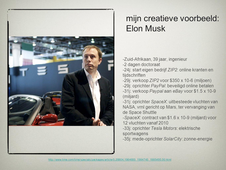 http://www.time.com/time/specials/packages/article/0,28804,1984685_1984745_1985495,00.html mijn creatieve voorbeeld: Elon Musk -Zuid-Afrikaan, 39 jaar