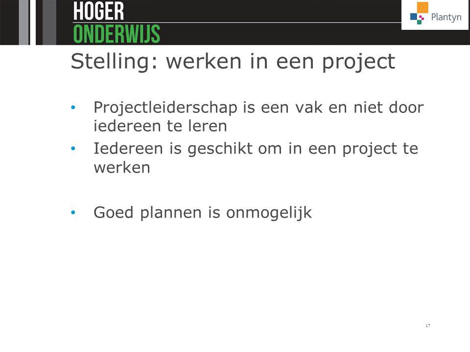 Stelling: werken in een project Projectleiderschap is een vak en niet door iedereen te leren Iedereen is geschikt om in een project te werken Goed pla