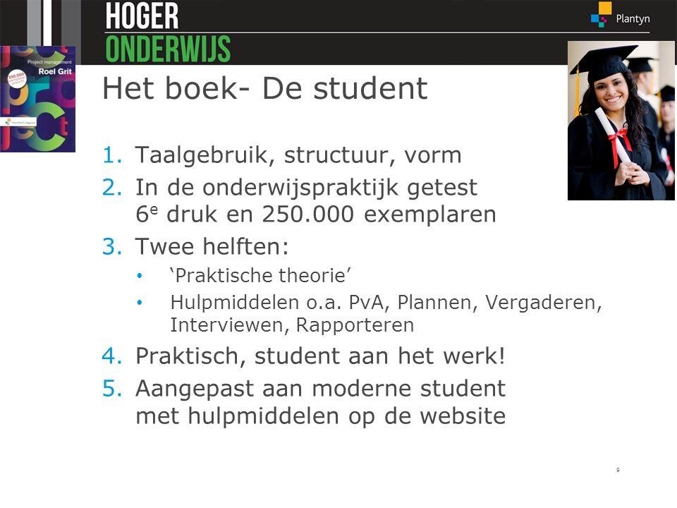 Het boek- De student 1.Taalgebruik, structuur, vorm 2.In de onderwijspraktijk getest 6 e druk en 250.000 exemplaren 3.Twee helften: 'Praktische theori