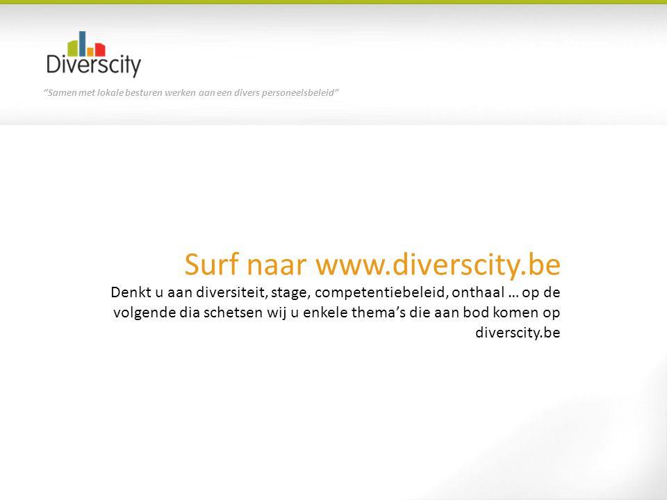 Samen met lokale besturen werken aan een divers personeelsbeleid Surf naar www.diverscity.be Denkt u aan diversiteit, stage, competentiebeleid, onthaal … op de volgende dia schetsen wij u enkele thema's die aan bod komen op diverscity.be