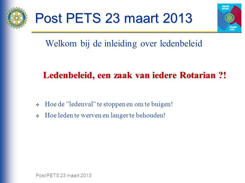Post PETS 23 maart 2013 Welkom bij de inleiding over ledenbeleid Ledenbeleid, een zaak van iedere Rotarian ?! Ledenbeleid, een zaak van iedere Rotaria