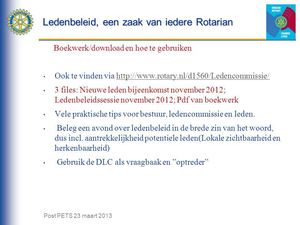 Ledenbeleid, een zaak van iedere Rotarian Boekwerk/download en hoe te gebruiken Ook te vinden via http://www.rotary.nl/d1560/Ledencommissie/http://www.rotary.nl/d1560/Ledencommissie/ 3 files: Nieuwe leden bijeenkomst november 2012; Ledenbeleidssessie november 2012; Pdf van boekwerk Vele praktische tips voor bestuur, ledencommissie en leden.