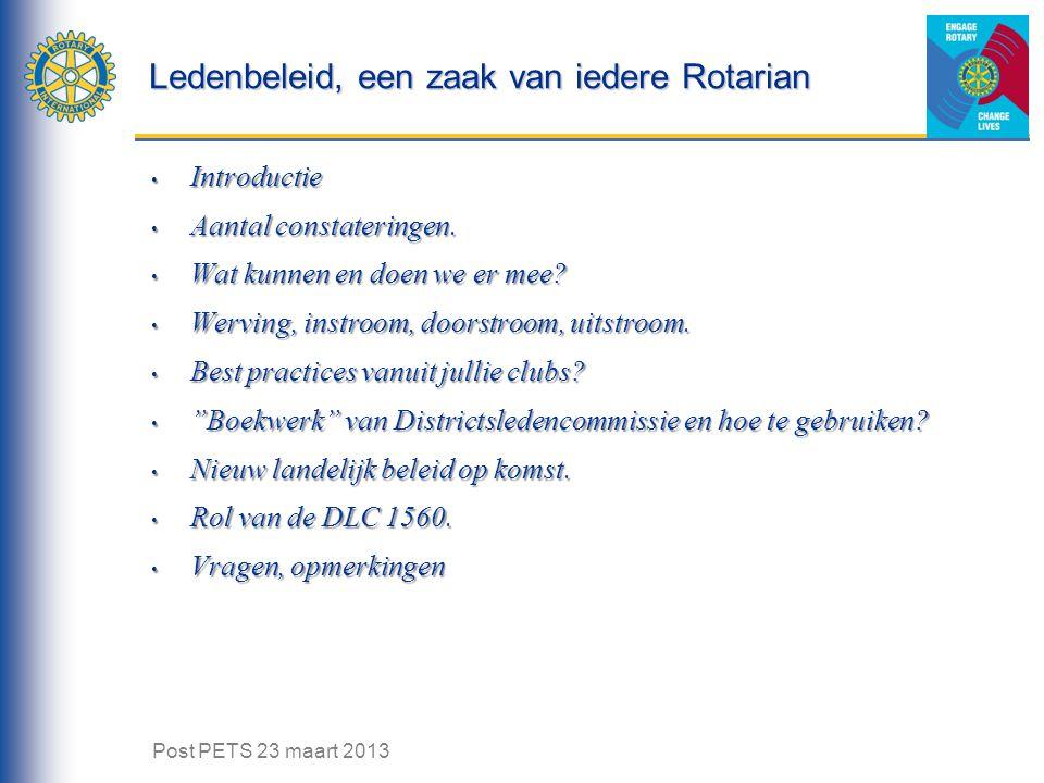 Ledenbeleid, een zaak van iedere Rotarian Introductie Introductie Aantal constateringen. Aantal constateringen. Wat kunnen en doen we er mee? Wat kunn