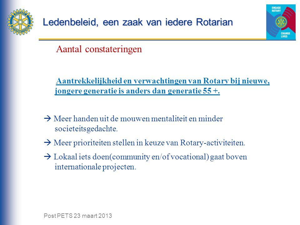 Ledenbeleid, een zaak van iedere Rotarian Aantal constateringen Aantrekkelijkheid en verwachtingen van Rotary bij nieuwe, jongere generatie is anders