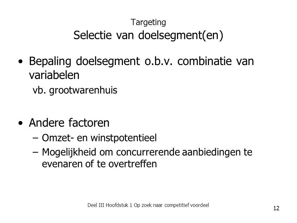 Deel III Hoofdstuk 1 Op zoek naar competitief voordeel 12 Targeting Selectie van doelsegment(en) Bepaling doelsegment o.b.v. combinatie van variabelen