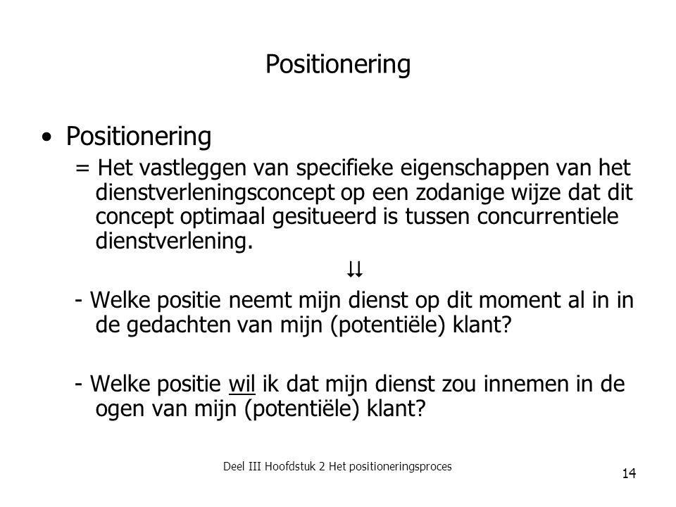 Deel III Hoofdstuk 2 Het positioneringsproces 14 Positionering = Het vastleggen van specifieke eigenschappen van het dienstverleningsconcept op een zo