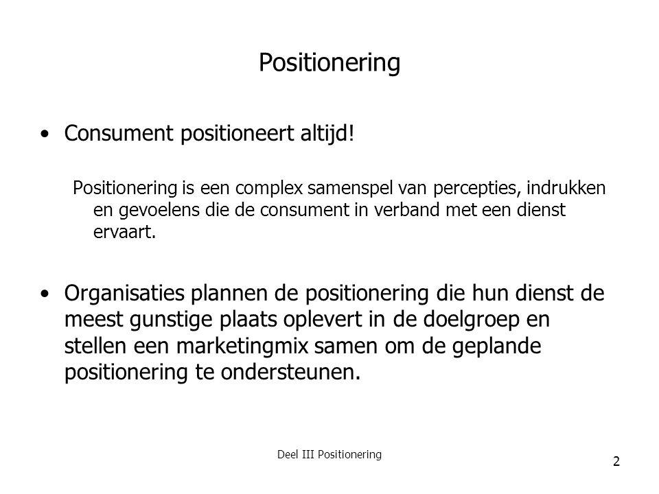 Deel III Positionering 3 Positionering (2) Positionering = integratievraagstuk van doelgroep & dienstenconcept  Hoe sluit het concept aan bij de behoeften van een bepaalde doelgroep.
