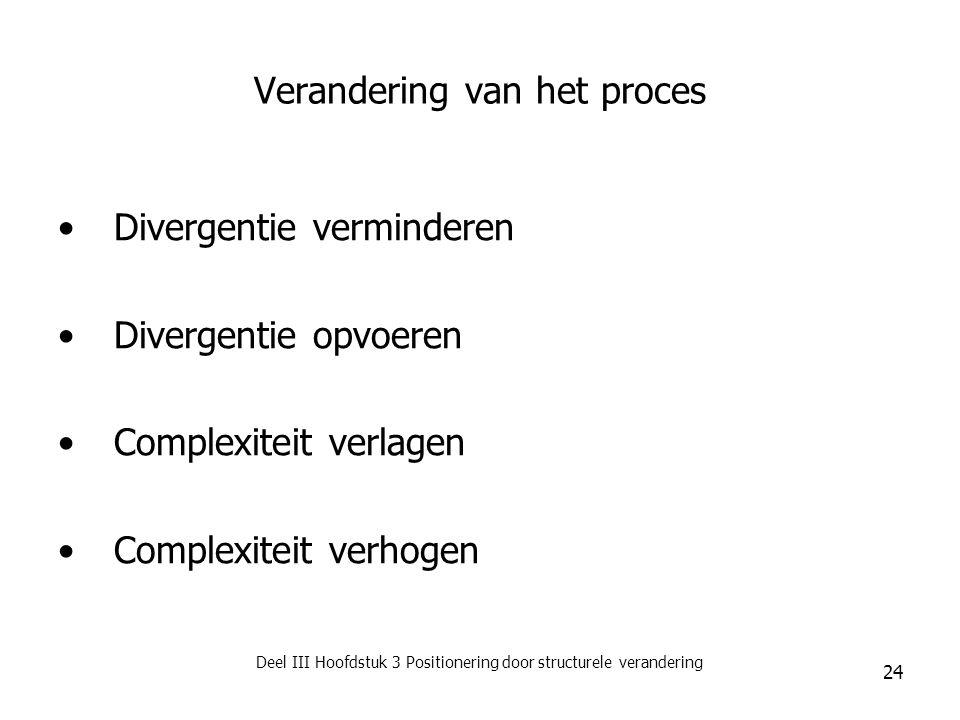 Deel III Hoofdstuk 3 Positionering door structurele verandering 24 Verandering van het proces Divergentie verminderen Divergentie opvoeren Complexitei