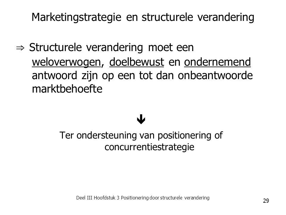 Deel III Hoofdstuk 3 Positionering door structurele verandering 29 Marketingstrategie en structurele verandering ⇒ Structurele verandering moet een we