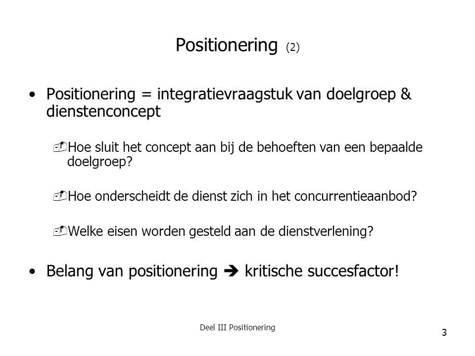 Deel III Positionering 3 Positionering (2) Positionering = integratievraagstuk van doelgroep & dienstenconcept  Hoe sluit het concept aan bij de beho