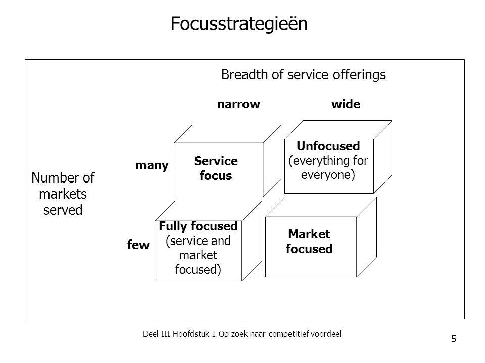 Deel III Hoofdstuk 1 Op zoek naar competitief voordeel 6 Focus en segmentatie Focus  Segmentatie = het opdelen van consumenten in een aantal afzonderlijk homogene klantengroepen die dezelfde behoeften kennen of op eenzelfde manier reageren op een speciaal voor hen ontwikkeld dienstenconcept  Microsegmentatie  Mass customisation