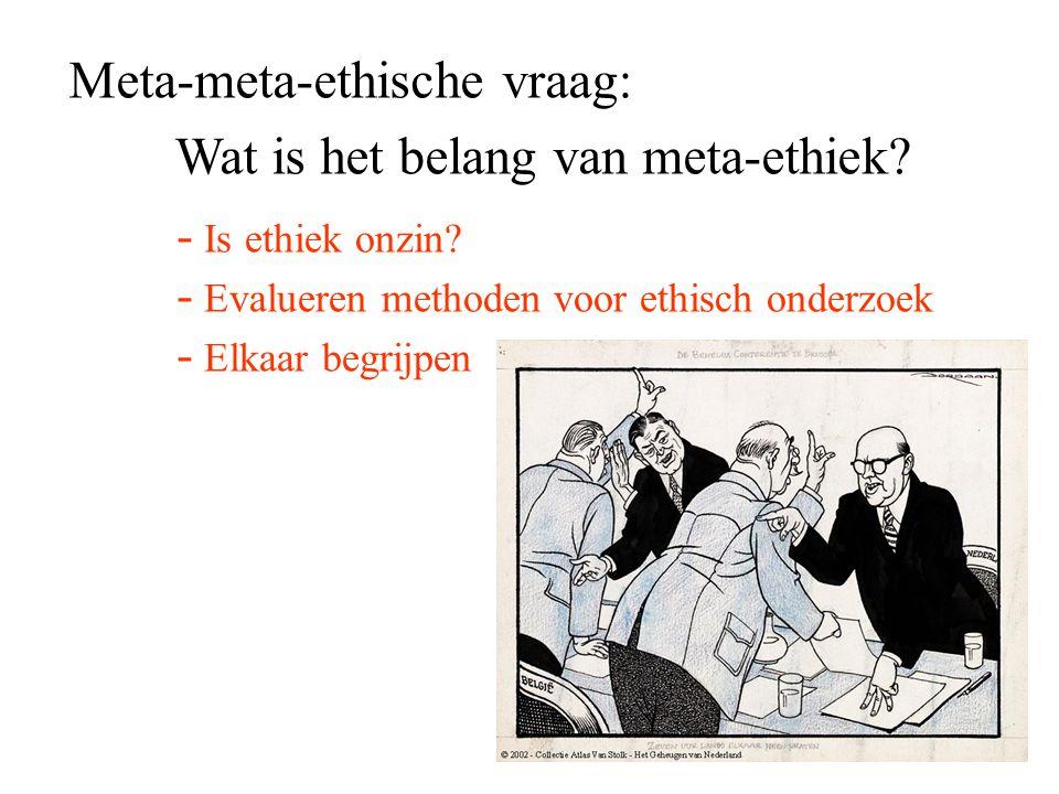 Meta-meta-ethische vraag: Wat is het belang van meta-ethiek? - Is ethiek onzin? - Evalueren methoden voor ethisch onderzoek - Elkaar begrijpen