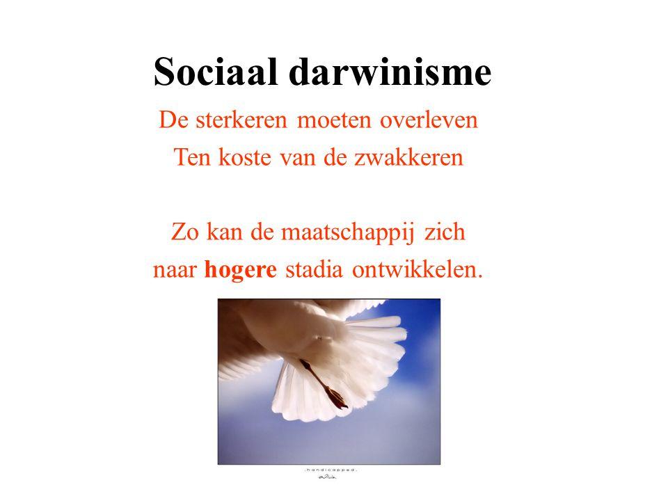 Sociaal darwinisme De sterkeren moeten overleven Ten koste van de zwakkeren Zo kan de maatschappij zich naar hogere stadia ontwikkelen.