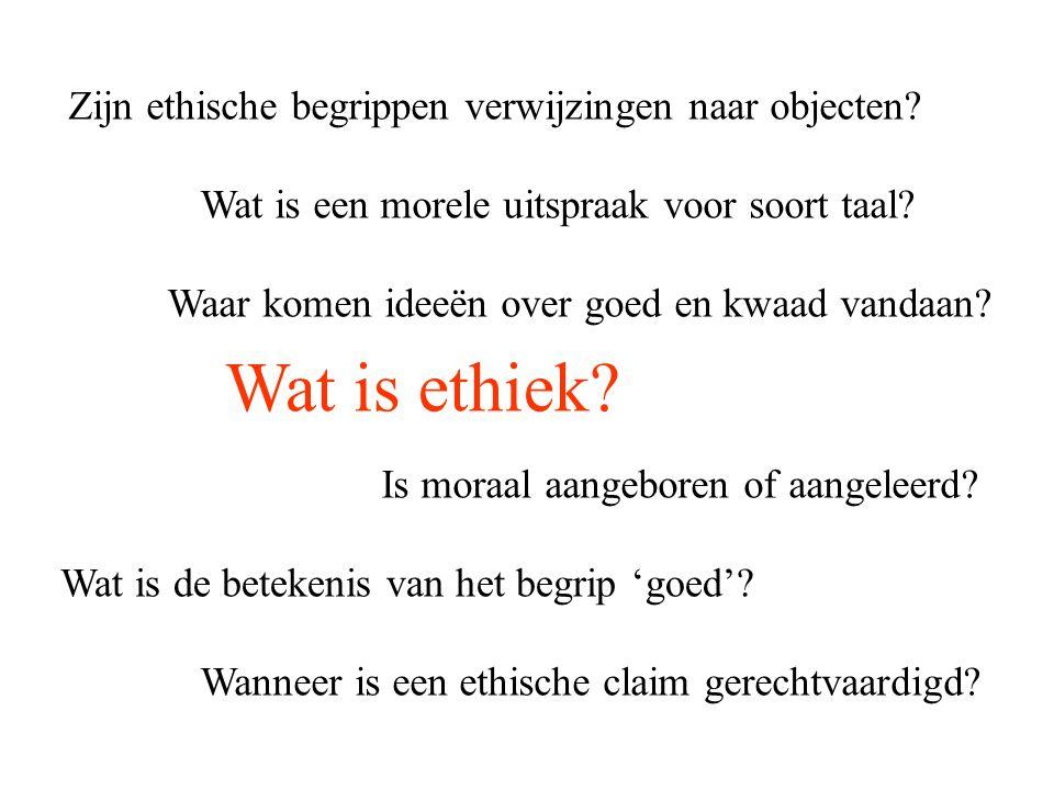 Wat is ethiek? Wat is de betekenis van het begrip 'goed'? Wanneer is een ethische claim gerechtvaardigd? Wat is een morele uitspraak voor soort taal?