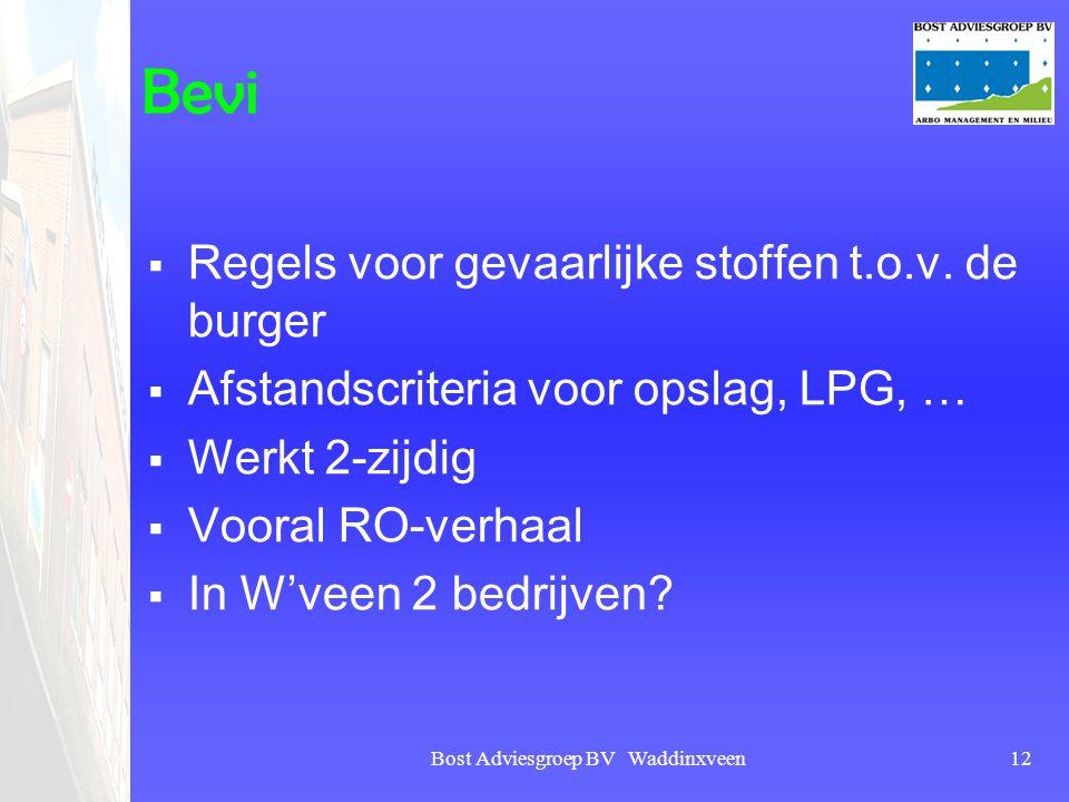 Bost Adviesgroep BV Waddinxveen12 Bevi  Regels voor gevaarlijke stoffen t.o.v. de burger  Afstandscriteria voor opslag, LPG, …  Werkt 2-zijdig  Vo