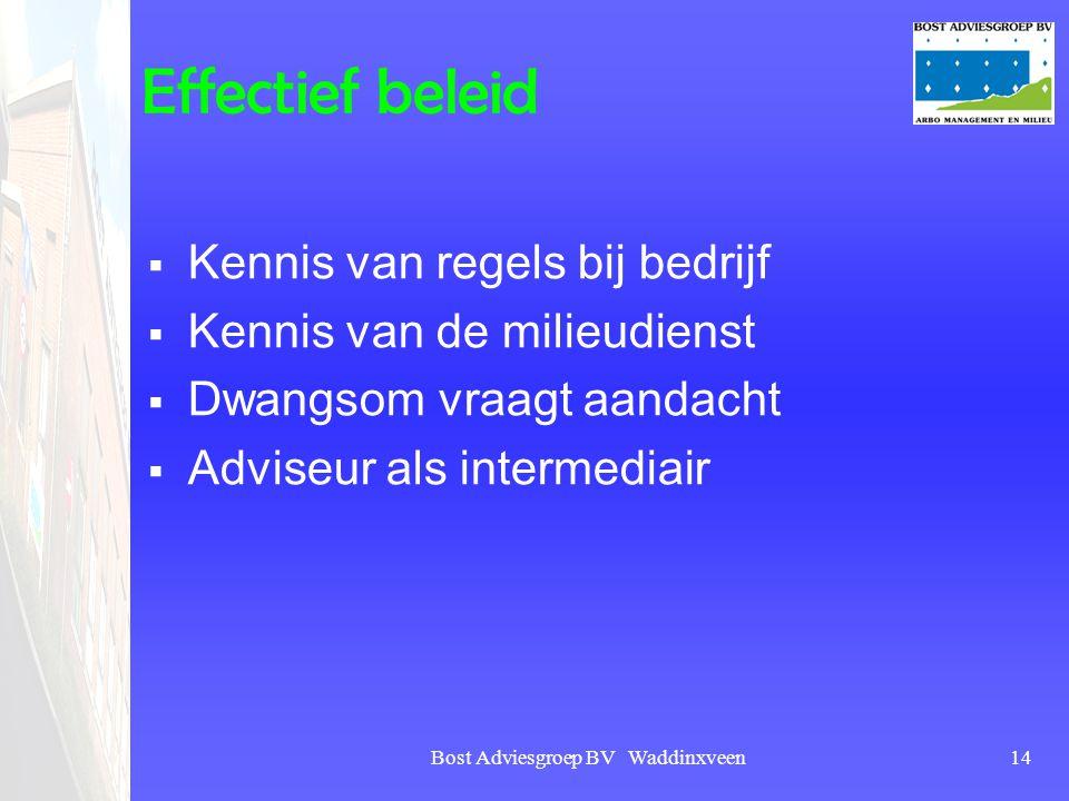 Bost Adviesgroep BV Waddinxveen14 Effectief beleid  Kennis van regels bij bedrijf  Kennis van de milieudienst  Dwangsom vraagt aandacht  Adviseur