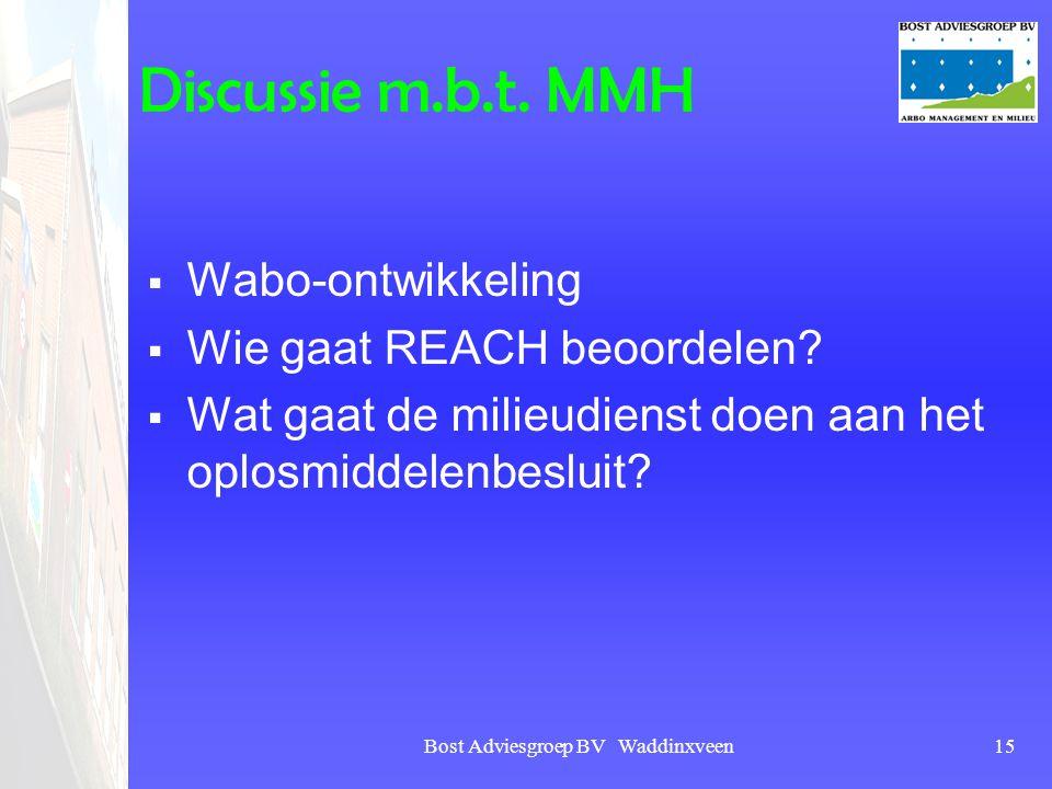 Bost Adviesgroep BV Waddinxveen15 Discussie m.b.t. MMH  Wabo-ontwikkeling  Wie gaat REACH beoordelen?  Wat gaat de milieudienst doen aan het oplosm