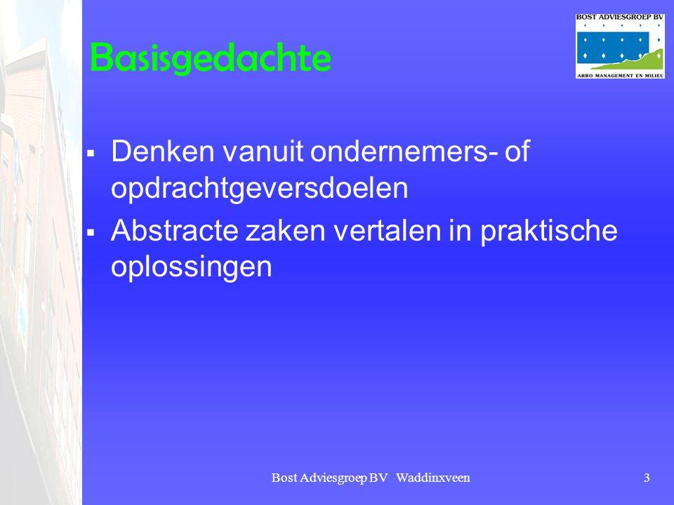 Bost Adviesgroep BV Waddinxveen3 Basisgedachte  Denken vanuit ondernemers- of opdrachtgeversdoelen  Abstracte zaken vertalen in praktische oplossing