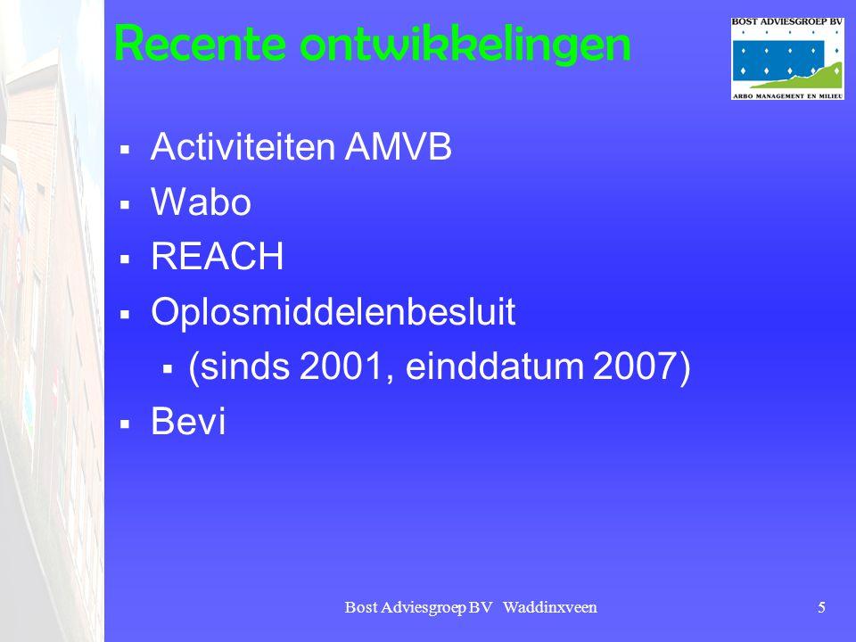 Bost Adviesgroep BV Waddinxveen5 Recente ontwikkelingen  Activiteiten AMVB  Wabo  REACH  Oplosmiddelenbesluit  (sinds 2001, einddatum 2007)  Bev