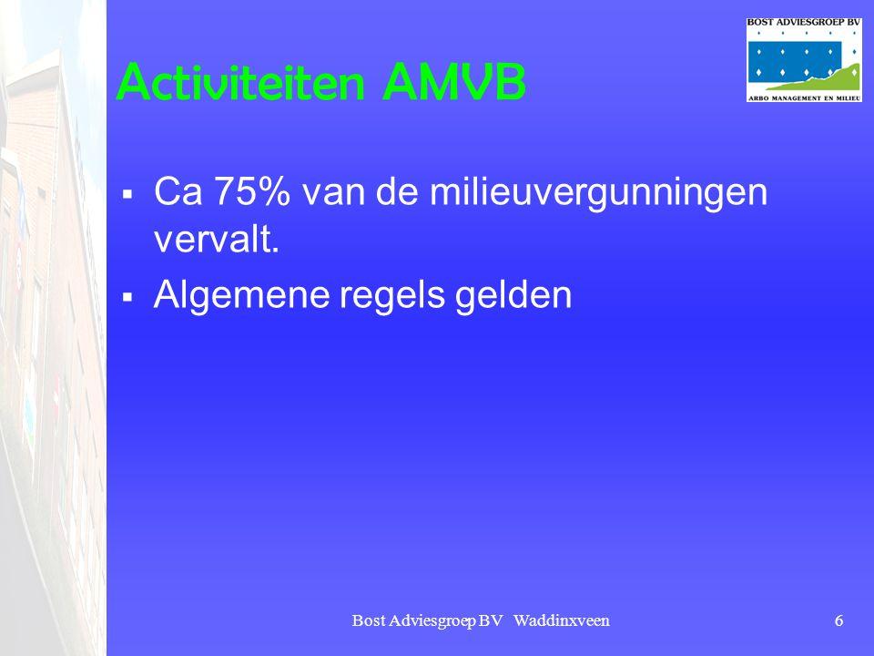 Bost Adviesgroep BV Waddinxveen6 Activiteiten AMVB  Ca 75% van de milieuvergunningen vervalt.  Algemene regels gelden