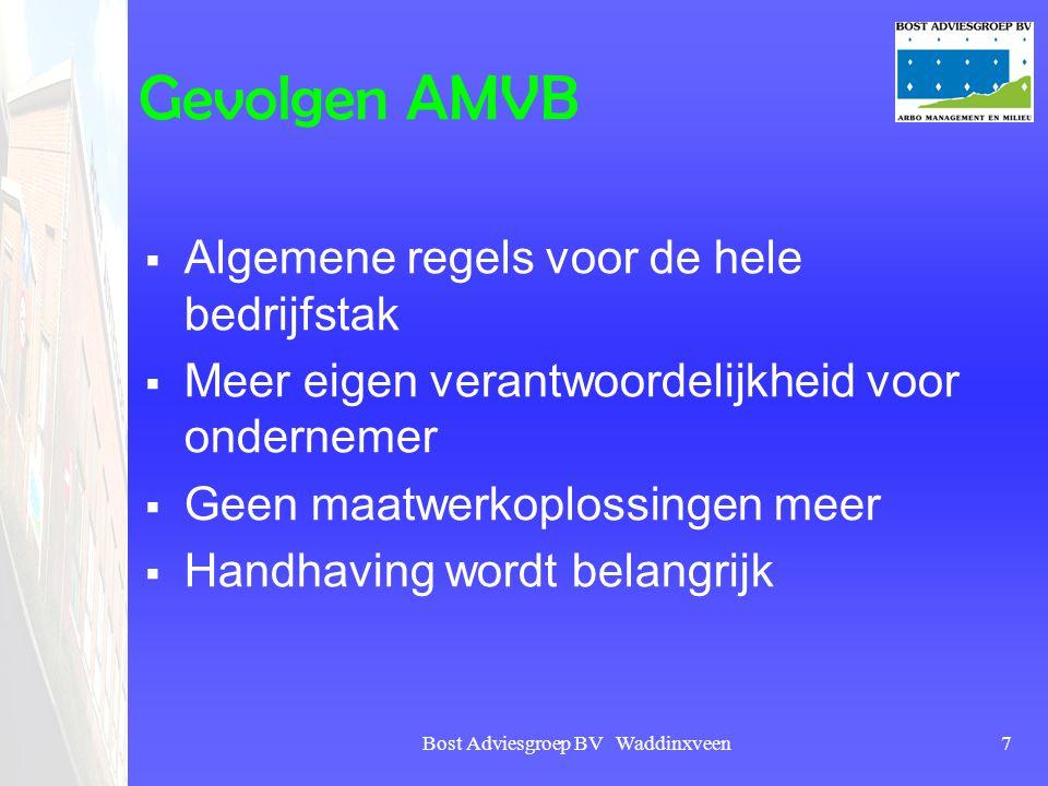 Bost Adviesgroep BV Waddinxveen7 Gevolgen AMVB  Algemene regels voor de hele bedrijfstak  Meer eigen verantwoordelijkheid voor ondernemer  Geen maa
