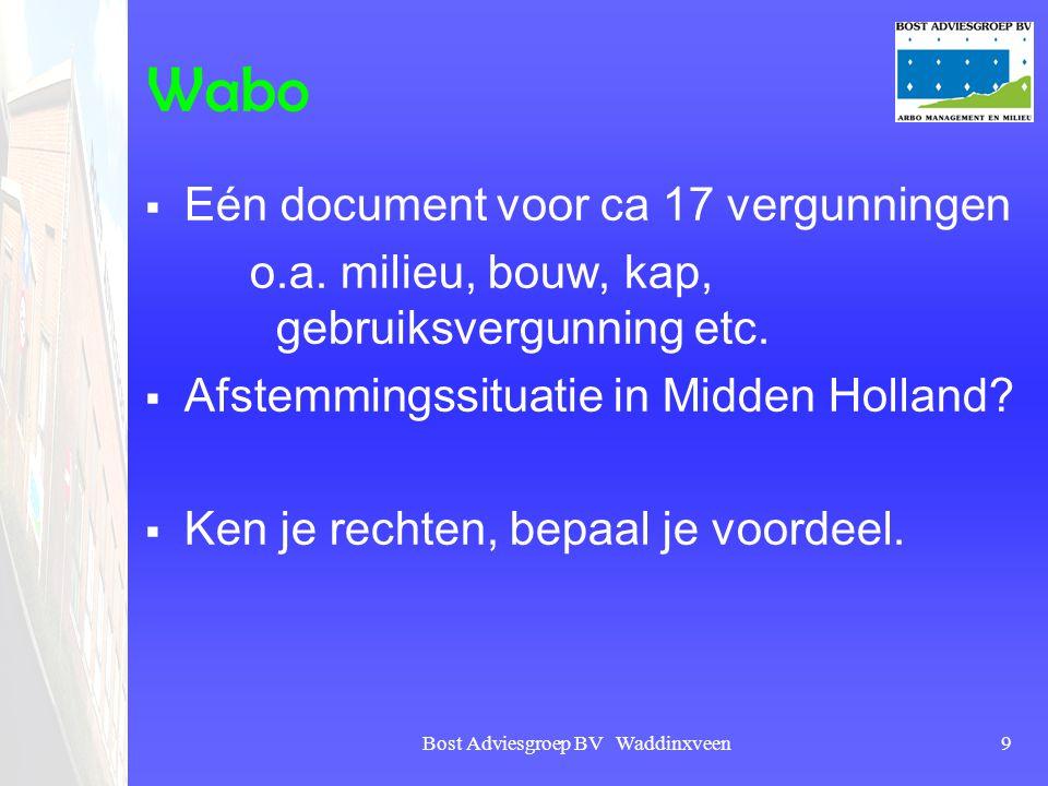 Bost Adviesgroep BV Waddinxveen9 Wabo  Eén document voor ca 17 vergunningen o.a. milieu, bouw, kap, gebruiksvergunning etc.  Afstemmingssituatie in