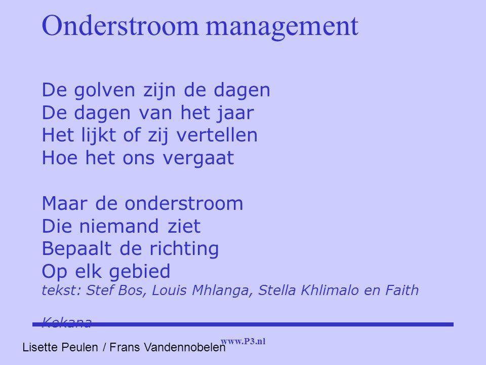 www.P3.nl Onderstroom management De golven zijn de dagen De dagen van het jaar Het lijkt of zij vertellen Hoe het ons vergaat Maar de onderstroom Die