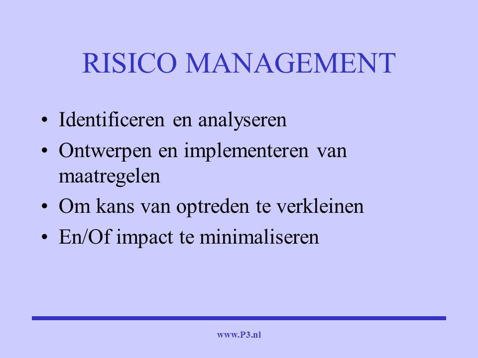 www.P3.nl RISICO MANAGEMENT Identificeren en analyseren Ontwerpen en implementeren van maatregelen Om kans van optreden te verkleinen En/Of impact te