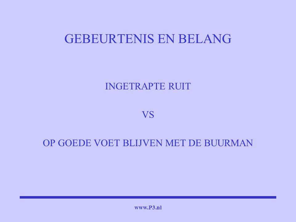 www.P3.nl GEBEURTENIS EN BELANG INGETRAPTE RUIT VS OP GOEDE VOET BLIJVEN MET DE BUURMAN