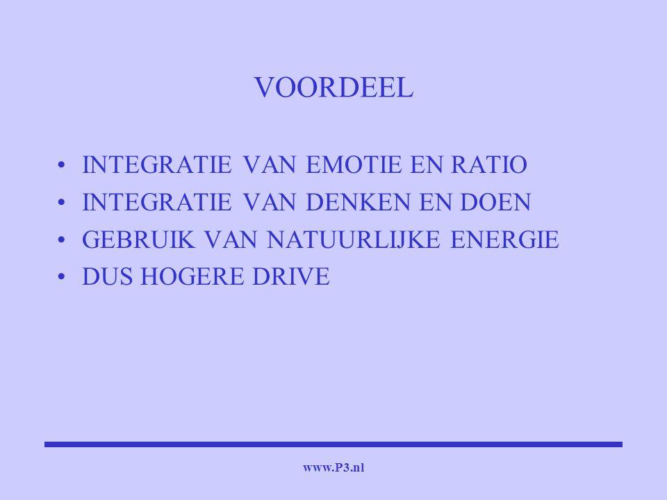 www.P3.nl VOORDEEL INTEGRATIE VAN EMOTIE EN RATIO INTEGRATIE VAN DENKEN EN DOEN GEBRUIK VAN NATUURLIJKE ENERGIE DUS HOGERE DRIVE