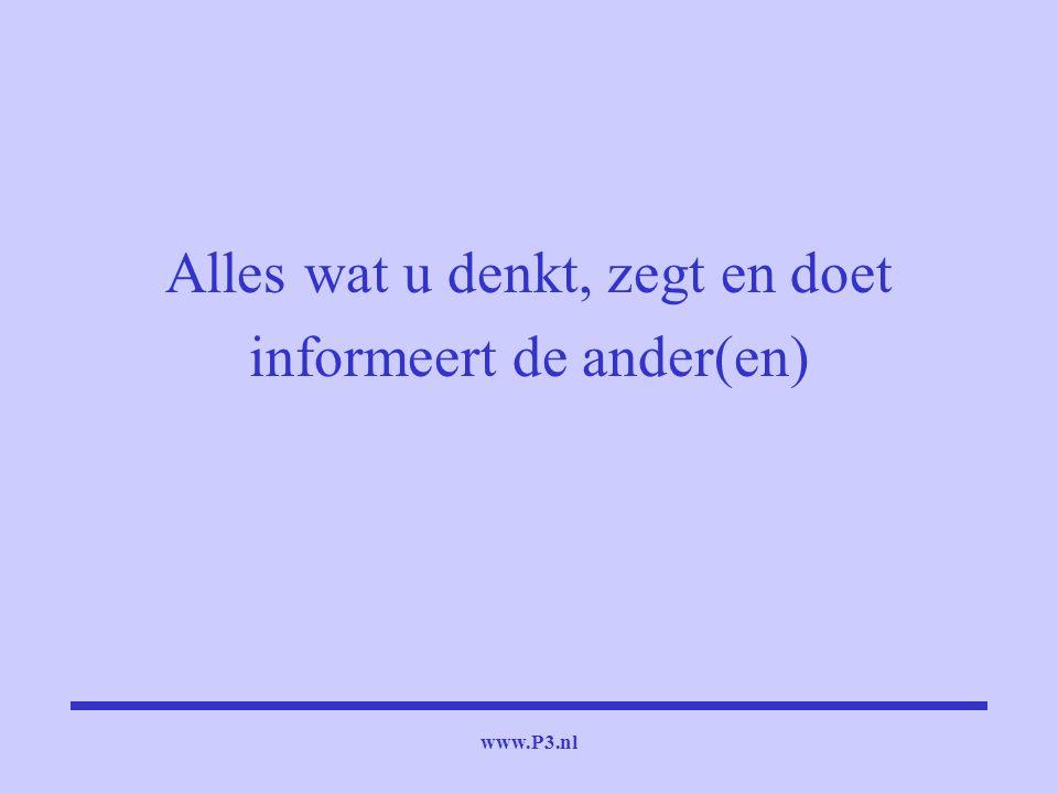 www.P3.nl Alles wat u denkt, zegt en doet informeert de ander(en)