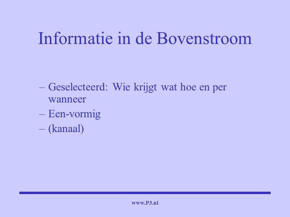 www.P3.nl Informatie in de Bovenstroom –Geselecteerd: Wie krijgt wat hoe en per wanneer –Een-vormig –(kanaal)