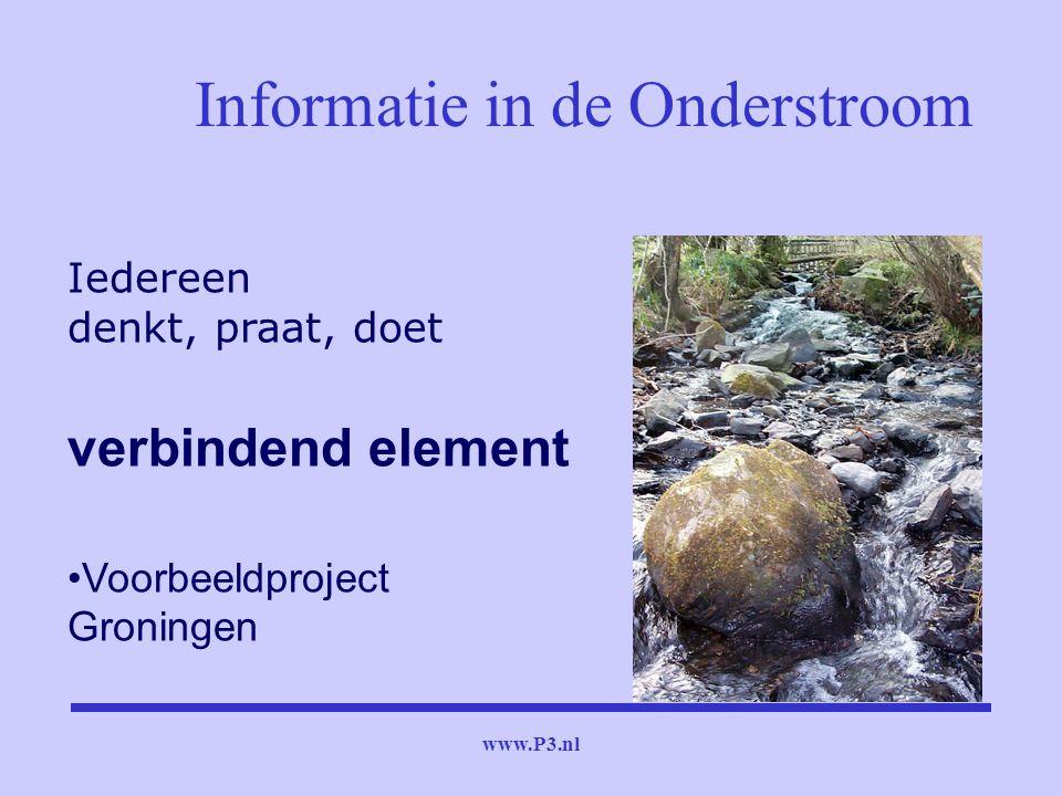 www.P3.nl Informatie in de Onderstroom Iedereen denkt, praat, doet verbindend element Voorbeeldproject Groningen