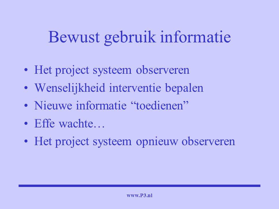 """www.P3.nl Bewust gebruik informatie Het project systeem observeren Wenselijkheid interventie bepalen Nieuwe informatie """"toedienen"""" Effe wachte… Het pr"""