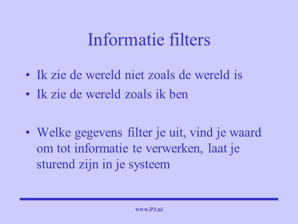 www.P3.nl Informatie filters Ik zie de wereld niet zoals de wereld is Ik zie de wereld zoals ik ben Welke gegevens filter je uit, vind je waard om tot