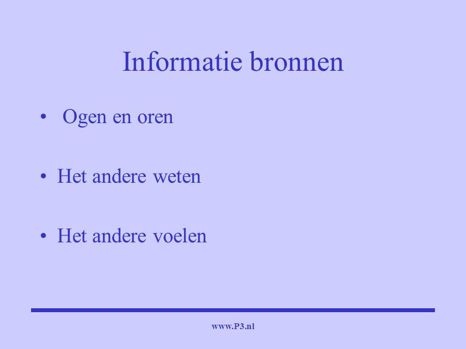 www.P3.nl Informatie bronnen Ogen en oren Het andere weten Het andere voelen