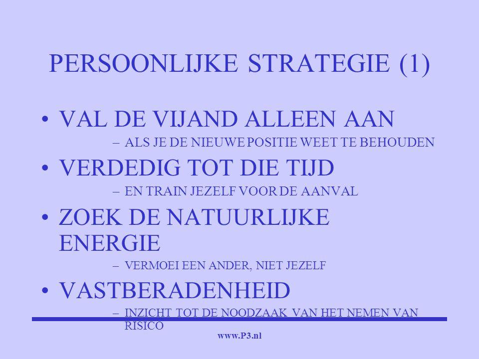 www.P3.nl PERSOONLIJKE STRATEGIE (1) VAL DE VIJAND ALLEEN AAN –ALS JE DE NIEUWE POSITIE WEET TE BEHOUDEN VERDEDIG TOT DIE TIJD –EN TRAIN JEZELF VOOR D