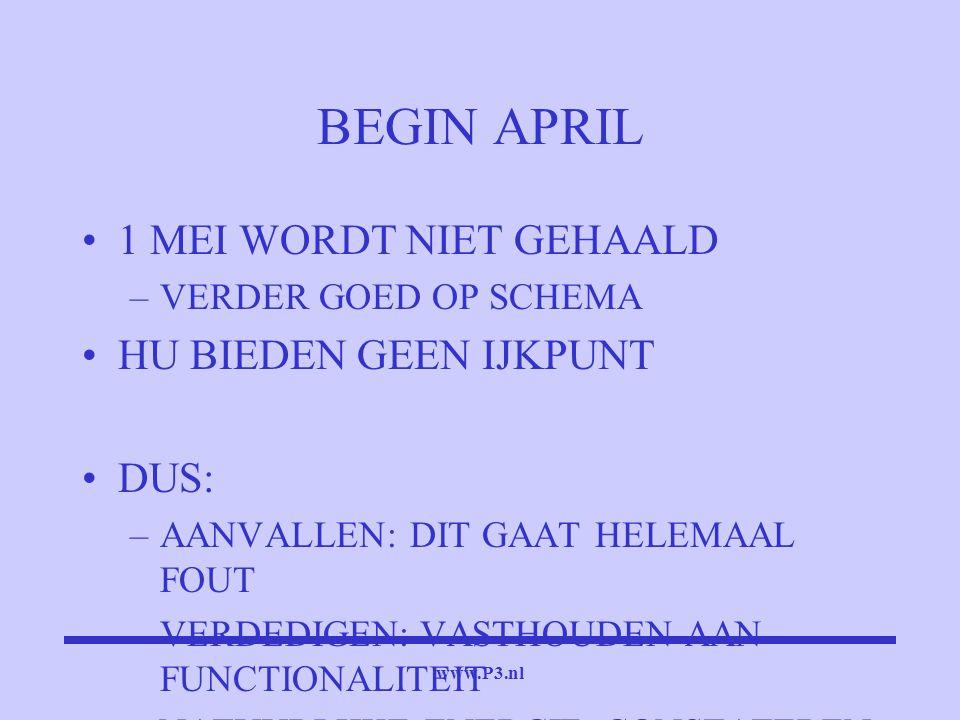 www.P3.nl BEGIN APRIL 1 MEI WORDT NIET GEHAALD –VERDER GOED OP SCHEMA HU BIEDEN GEEN IJKPUNT DUS: –AANVALLEN: DIT GAAT HELEMAAL FOUT –VERDEDIGEN: VAST