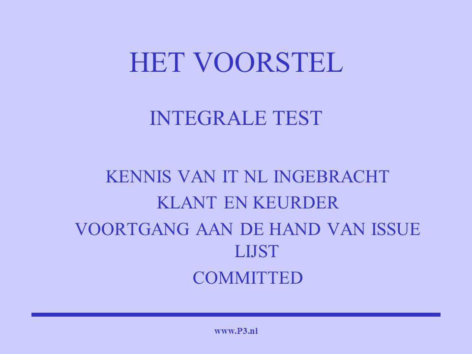www.P3.nl HET VOORSTEL INTEGRALE TEST KENNIS VAN IT NL INGEBRACHT KLANT EN KEURDER VOORTGANG AAN DE HAND VAN ISSUE LIJST COMMITTED