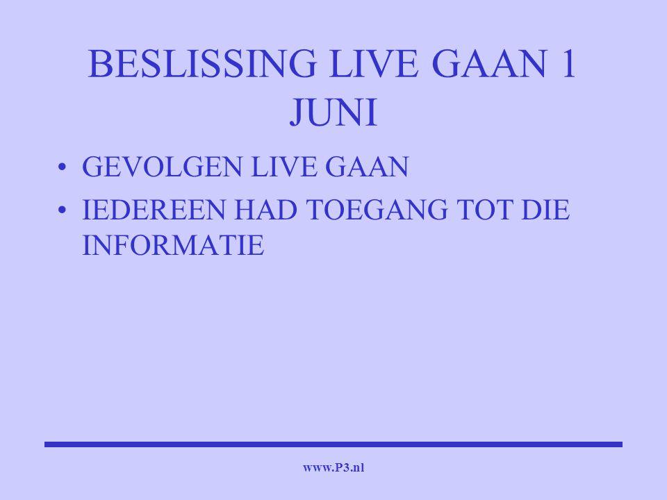 www.P3.nl BESLISSING LIVE GAAN 1 JUNI GEVOLGEN LIVE GAAN IEDEREEN HAD TOEGANG TOT DIE INFORMATIE