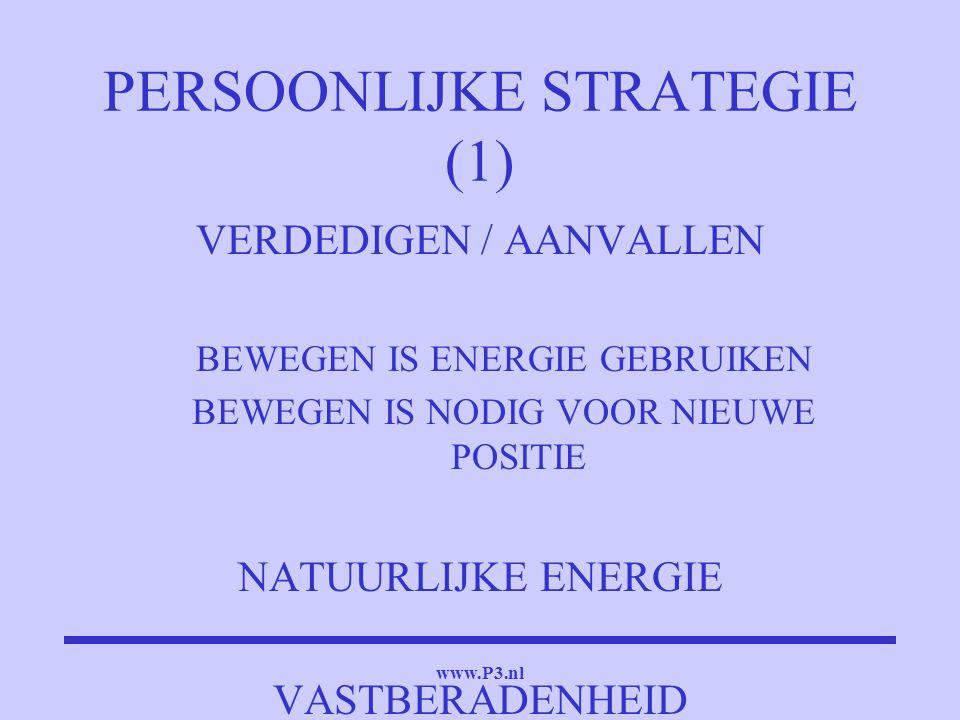 www.P3.nl PERSOONLIJKE STRATEGIE (1) VERDEDIGEN / AANVALLEN BEWEGEN IS ENERGIE GEBRUIKEN BEWEGEN IS NODIG VOOR NIEUWE POSITIE NATUURLIJKE ENERGIE VAST