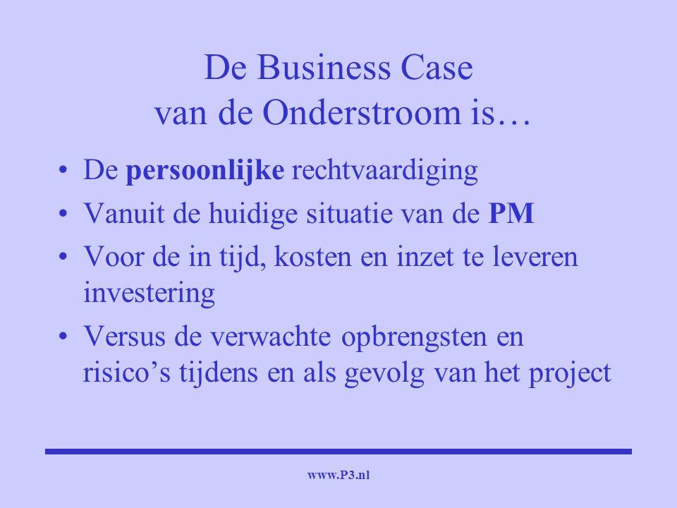www.P3.nl De Business Case van de Onderstroom is… De persoonlijke rechtvaardiging Vanuit de huidige situatie van de PM Voor de in tijd, kosten en inze