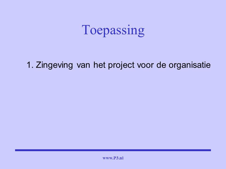 www.P3.nl 1. Zingeving van het project voor de organisatie Toepassing