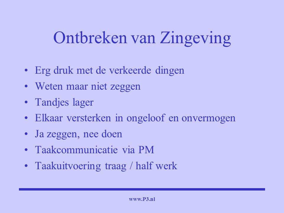 www.P3.nl Ontbreken van Zingeving Erg druk met de verkeerde dingen Weten maar niet zeggen Tandjes lager Elkaar versterken in ongeloof en onvermogen Ja