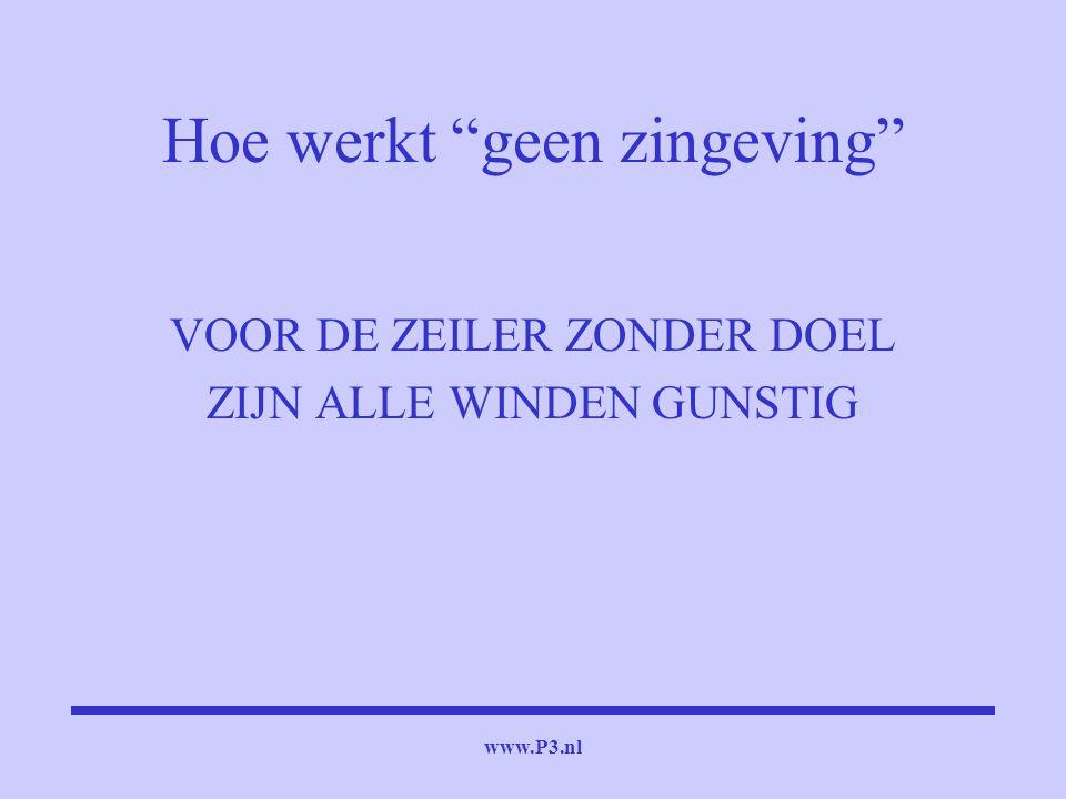 """www.P3.nl Hoe werkt """"geen zingeving"""" VOOR DE ZEILER ZONDER DOEL ZIJN ALLE WINDEN GUNSTIG"""