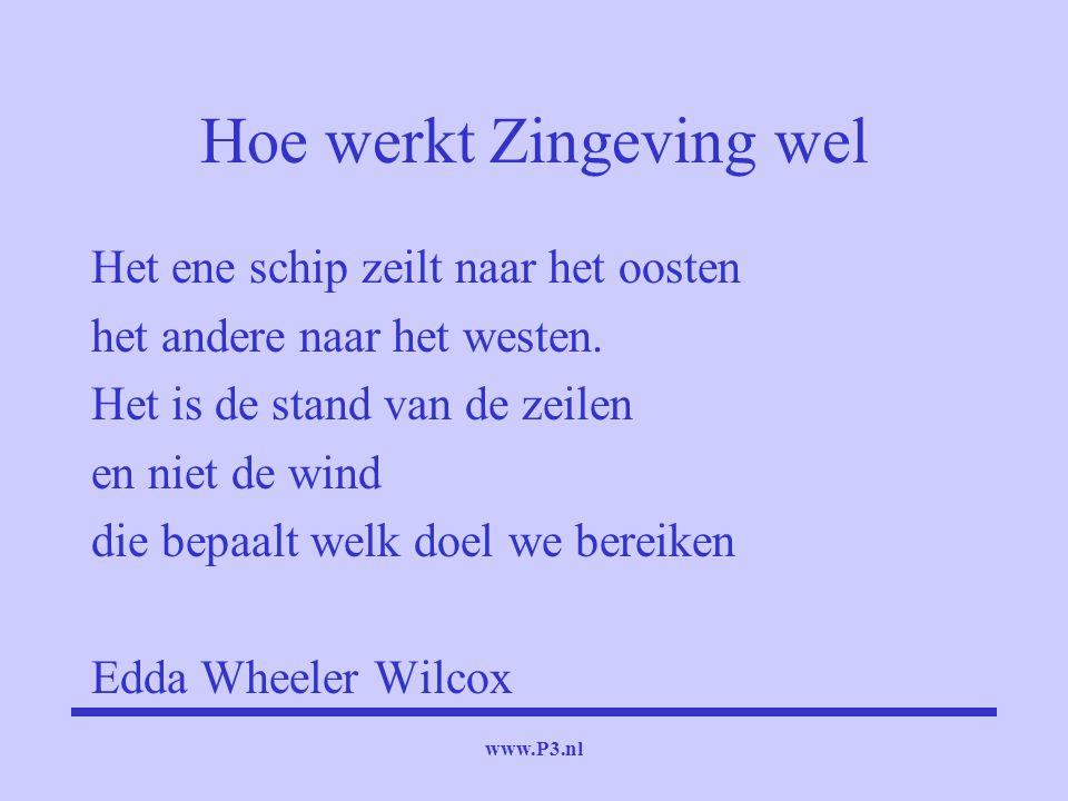www.P3.nl Hoe werkt Zingeving wel Het ene schip zeilt naar het oosten het andere naar het westen. Het is de stand van de zeilen en niet de wind die be