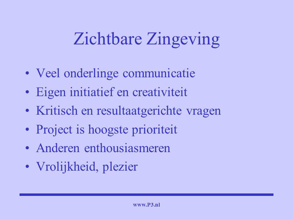 www.P3.nl Zichtbare Zingeving Veel onderlinge communicatie Eigen initiatief en creativiteit Kritisch en resultaatgerichte vragen Project is hoogste pr