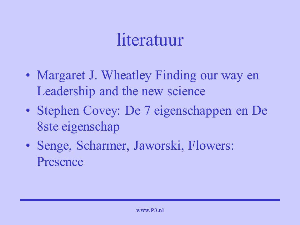 www.P3.nl literatuur Margaret J. Wheatley Finding our way en Leadership and the new science Stephen Covey: De 7 eigenschappen en De 8ste eigenschap Se