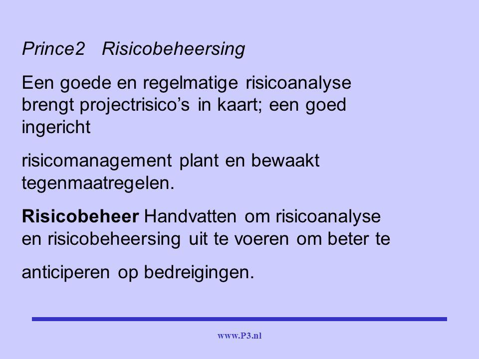 www.P3.nl Prince2Risicobeheersing Een goede en regelmatige risicoanalyse brengt projectrisico's in kaart; een goed ingericht risicomanagement plant en