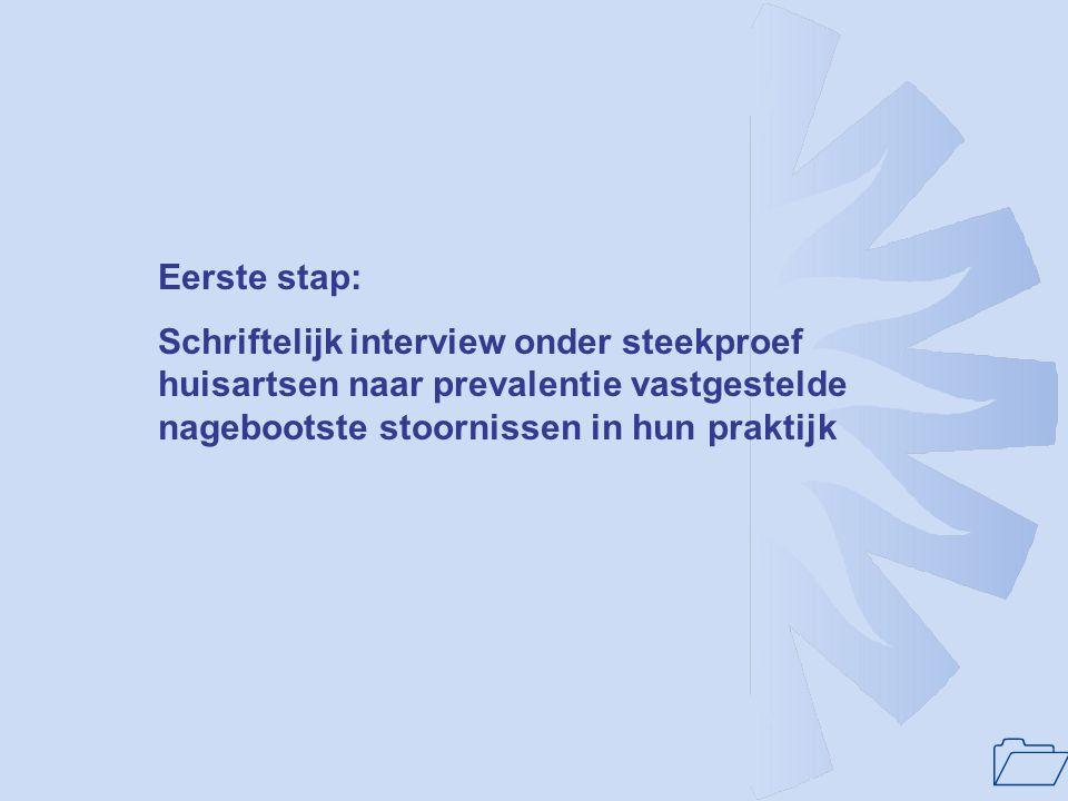 1 Eerste stap: Schriftelijk interview onder steekproef huisartsen naar prevalentie vastgestelde nagebootste stoornissen in hun praktijk
